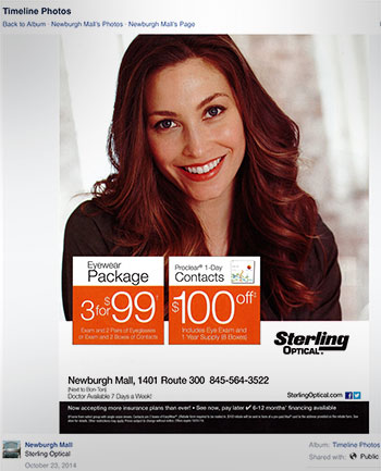 Contact lens promotion from Sterling Optical