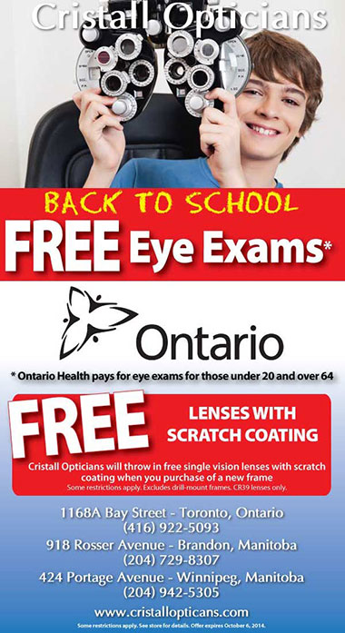 Back to school ad from Cristall Opticians
