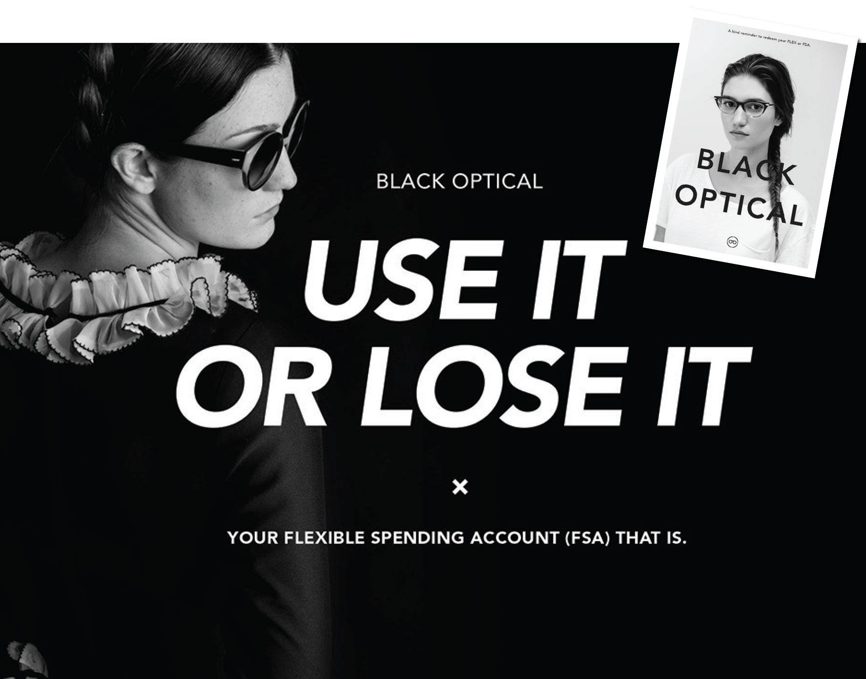 Flex dollar direct mail from Black Optical