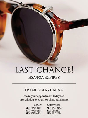 Flex dollars direct mail from Erker's Fine Eyewear