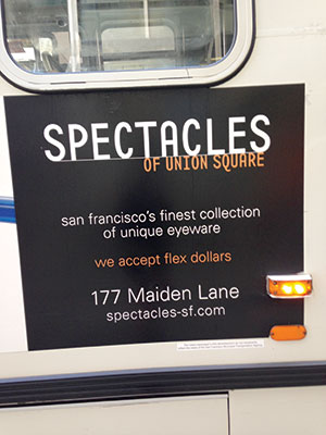 Flex dollar bus ad from Spectacles of Union Square