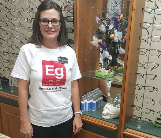 Stephanie Crowley in her Eye Geek t-shirt