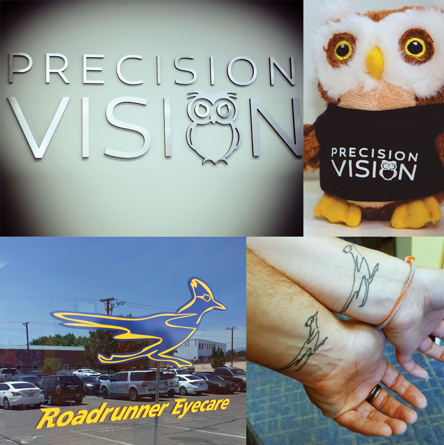 Precision Vision owl and Roadrunner mascot