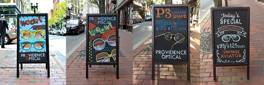 Sandwich boards from Providence Optical