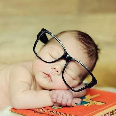 Baby Sleeping with glasses on
