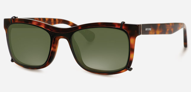 22c297ce22 JACK SPADE The Walters optical frame comes with a four-pronged sunglass  clip-on with green lenses. This acetate frame has a saddle bridge and flex  hinges ...