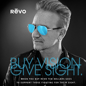 Bono in charity effort with sunglasses manufacturer Revo