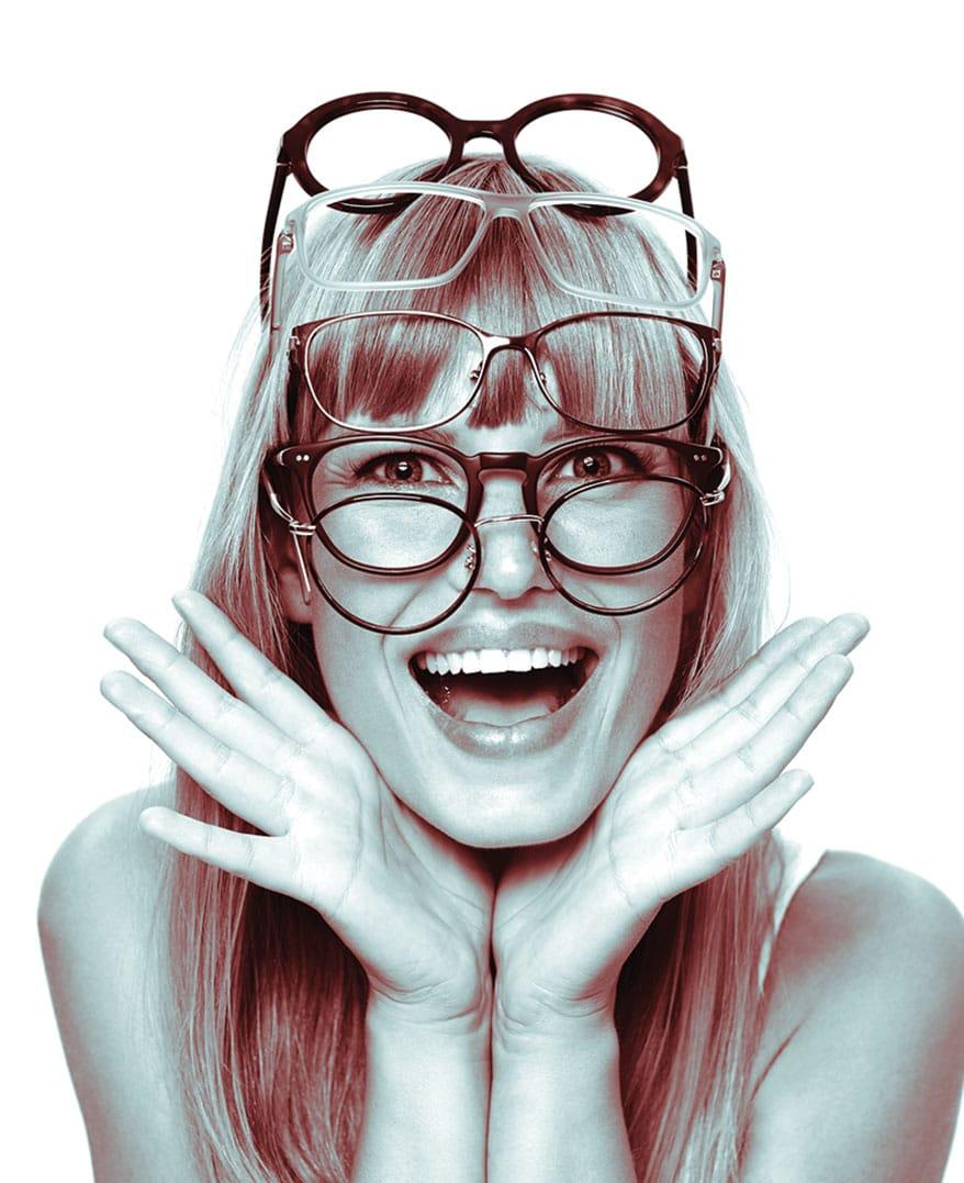 lady wearing multiple eyewear
