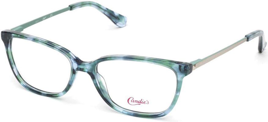 e6024525371e The Candie s CA0155 095 is a women s full rim plastic frame with rounded  edges in a marbled light green color with metal temples bearing the classic  ...