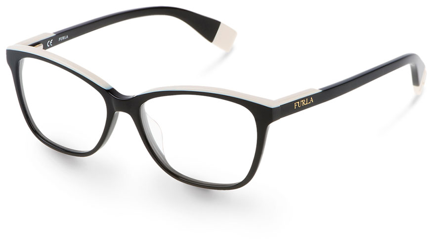 aa59350b8f The Furla VU497 from DeRigo REM is a feminine and chic full rim cat eye in  layered laminate acetate for two-tone effect on the brow and temple tips.