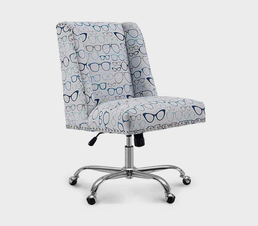 Linon Dobby Office Chair in Chrome