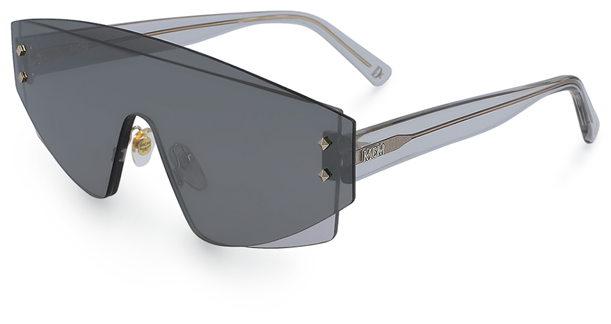 Marchon sunglasses with mask design and metal micro studs
