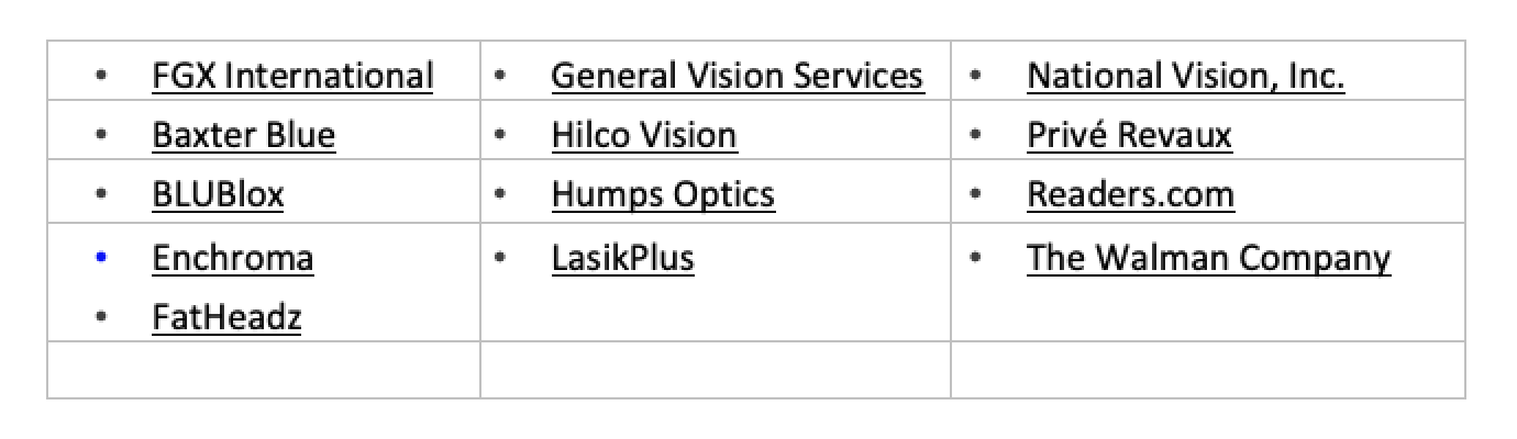 RestoringVision Extends its Gratitude to the Optical Industry Leaders