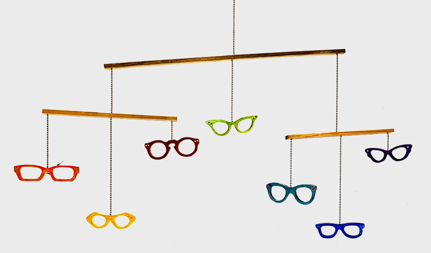 Backyard Spectacles rainbow optical frame mobiles