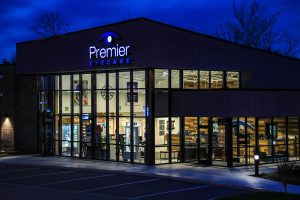 Premier Eyecare exterior at night