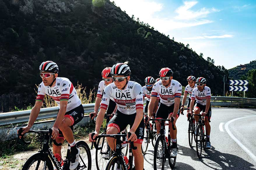 UAE Team Emirates cycling team is outfitted in SciCon Sports