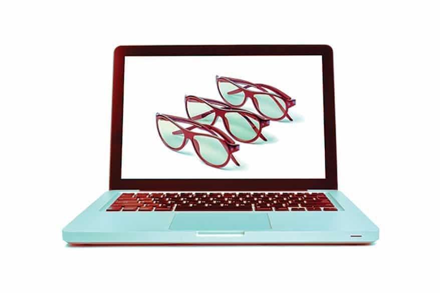 3 eyeglasses displayed on laptop screen