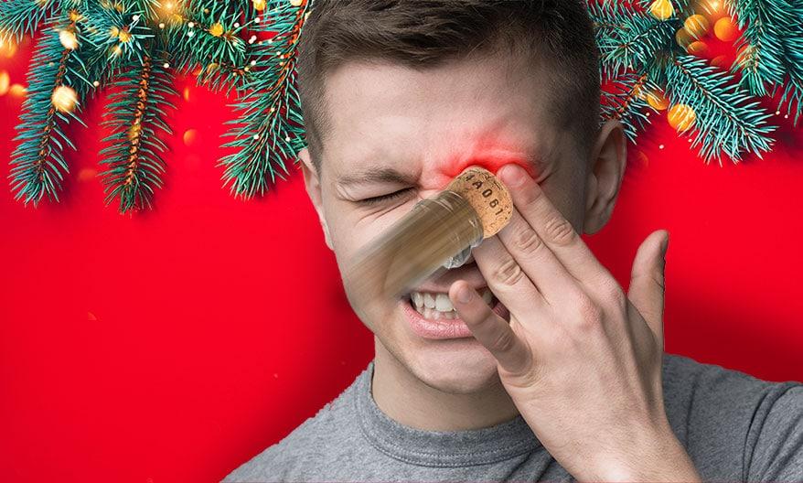 champagne cork hit boy's eye