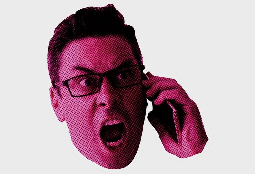 man shouting ver the phone