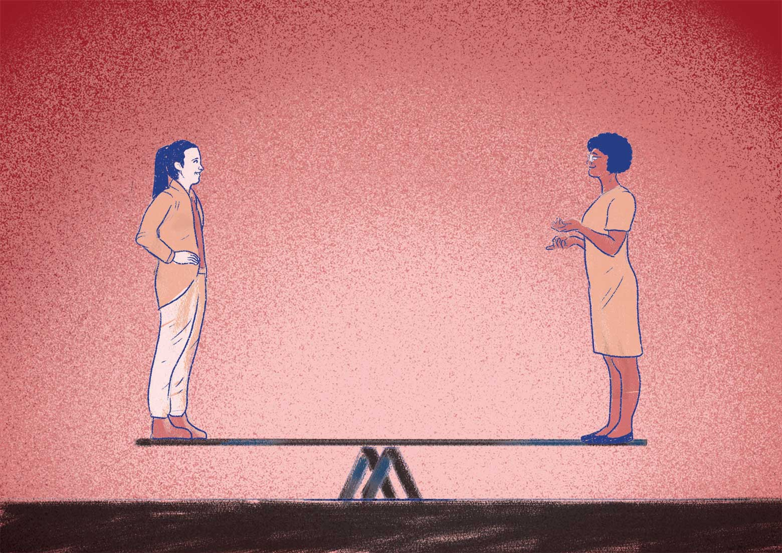illustration of 2 people standing opposite each other on a seesaw