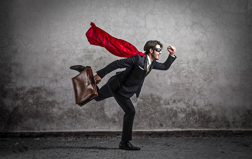 businessman with cape running