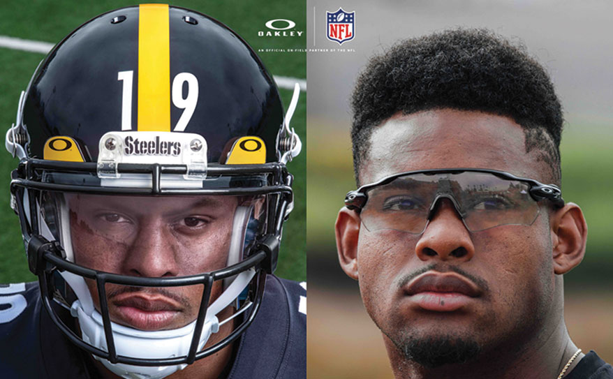 Oakley Clear Collection eyewear with clear and photochromic lenses designed to shield eyes, shown on football player Juju Smith-Schuster.
