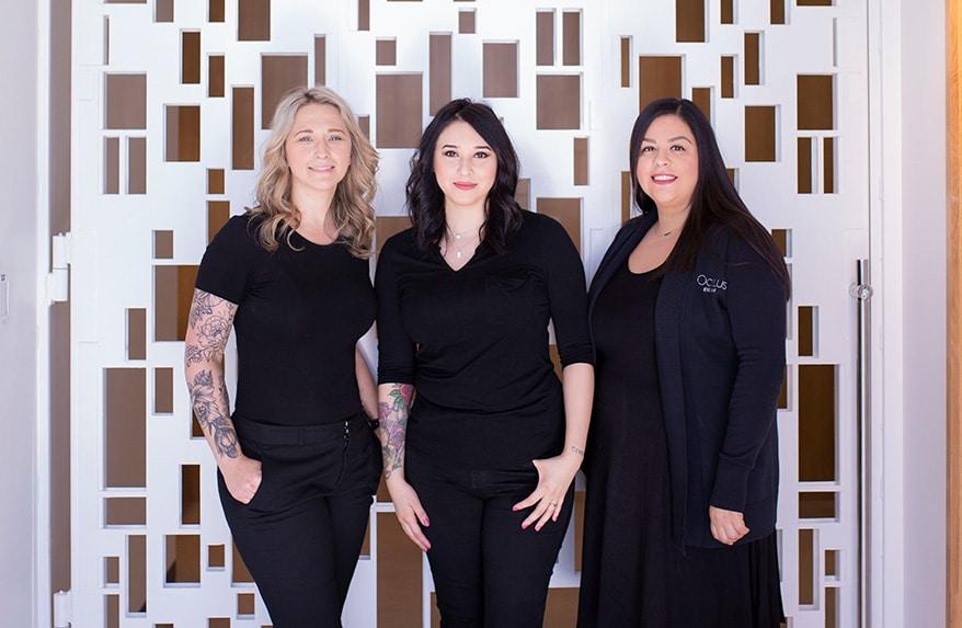 From left: Oculus Eyewear team members Leah Johnson, Anna Zuniga and Crystal Ruiz