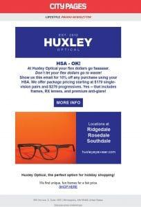 Huxley Optical marketing