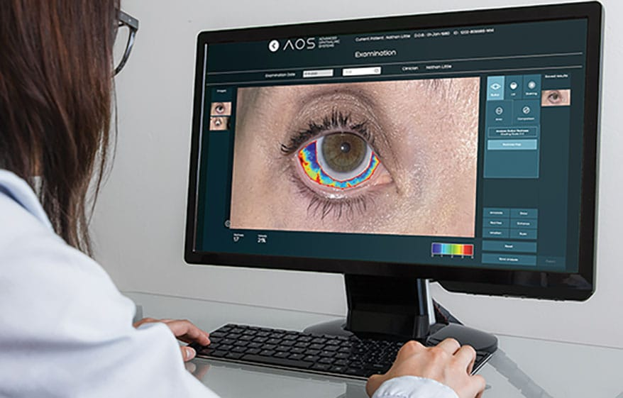 AOS enhances and grades images of the anterior segment and includes remote management tools like a patient imaging app and web-based video calls.