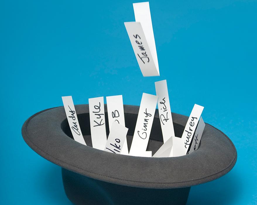 names written on paper strips