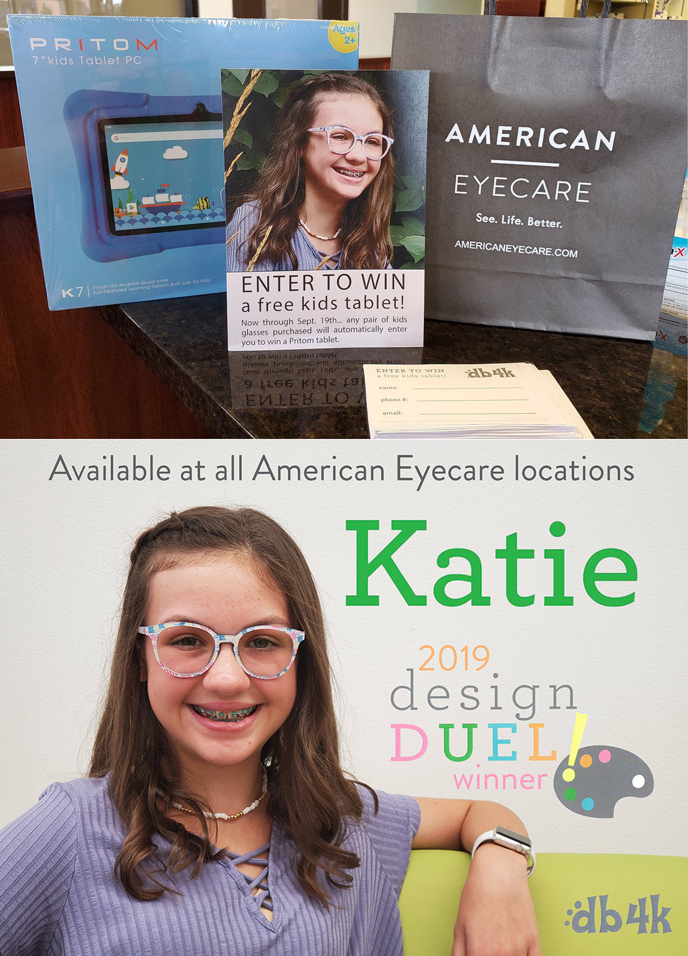 Katie, a 12-year-old patient at American Eyecare, won Europa's frame design competition.