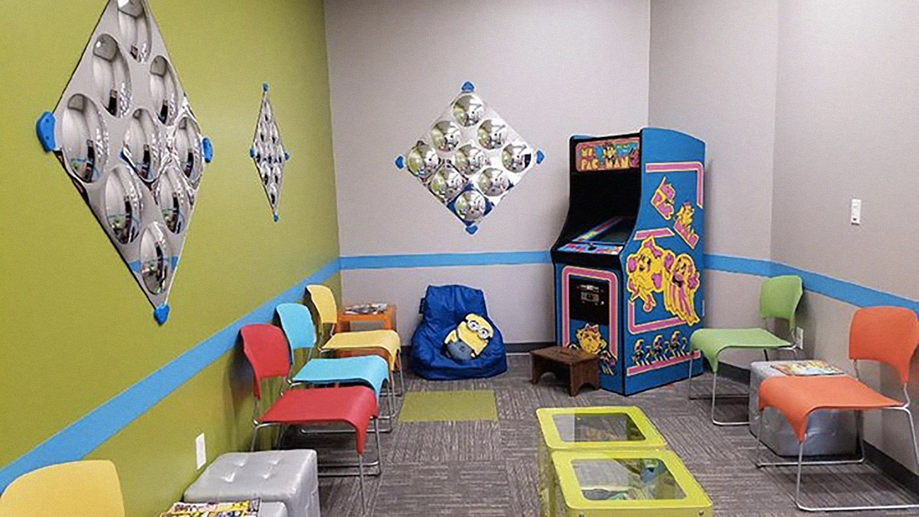 A PacMan arcade game keeps kids occupied if there's a wait at Little Eyes Pediatric Eye Care.