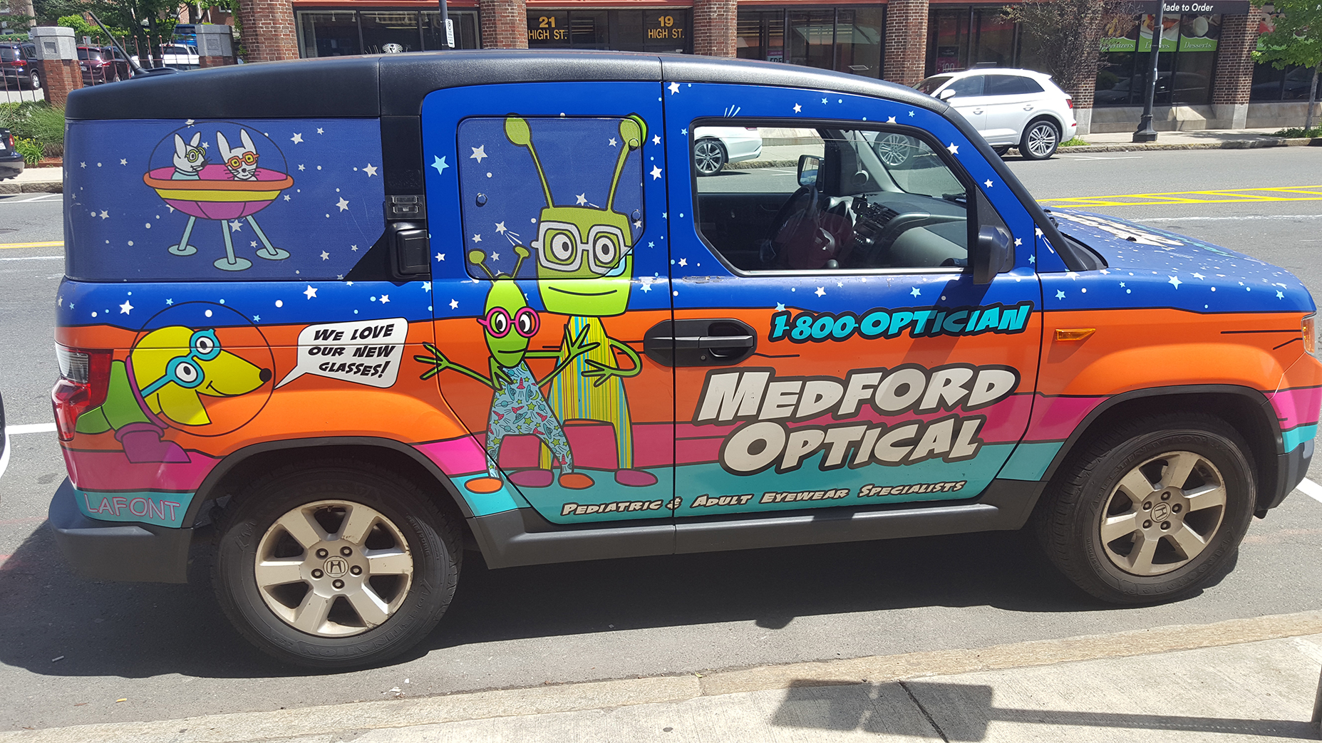 The Medford Optical Vehicle has become a stoplight conversation piece.