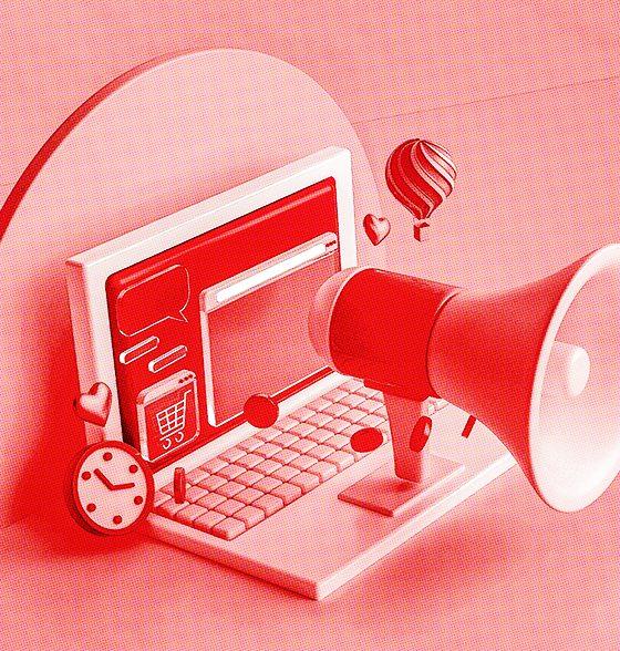 megaphone on a laptop keyboard