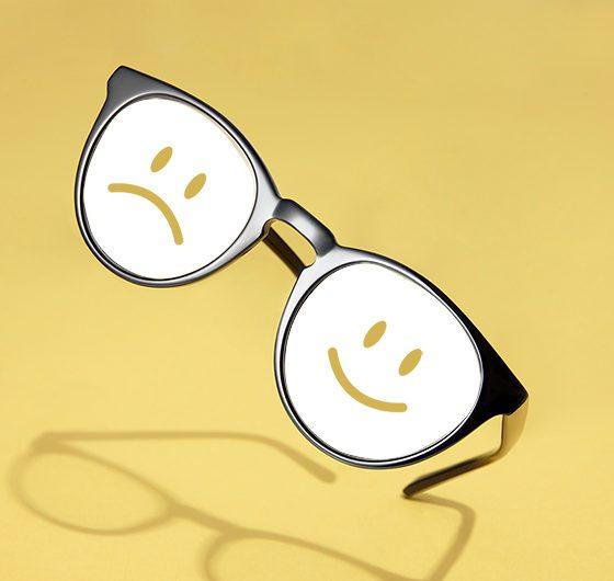 sad and happy eyeglasses