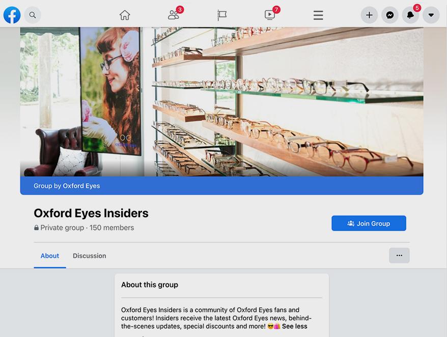The Oxford Eyes Insiders Facebook group started by Verbelee Nielsen-Swanson.