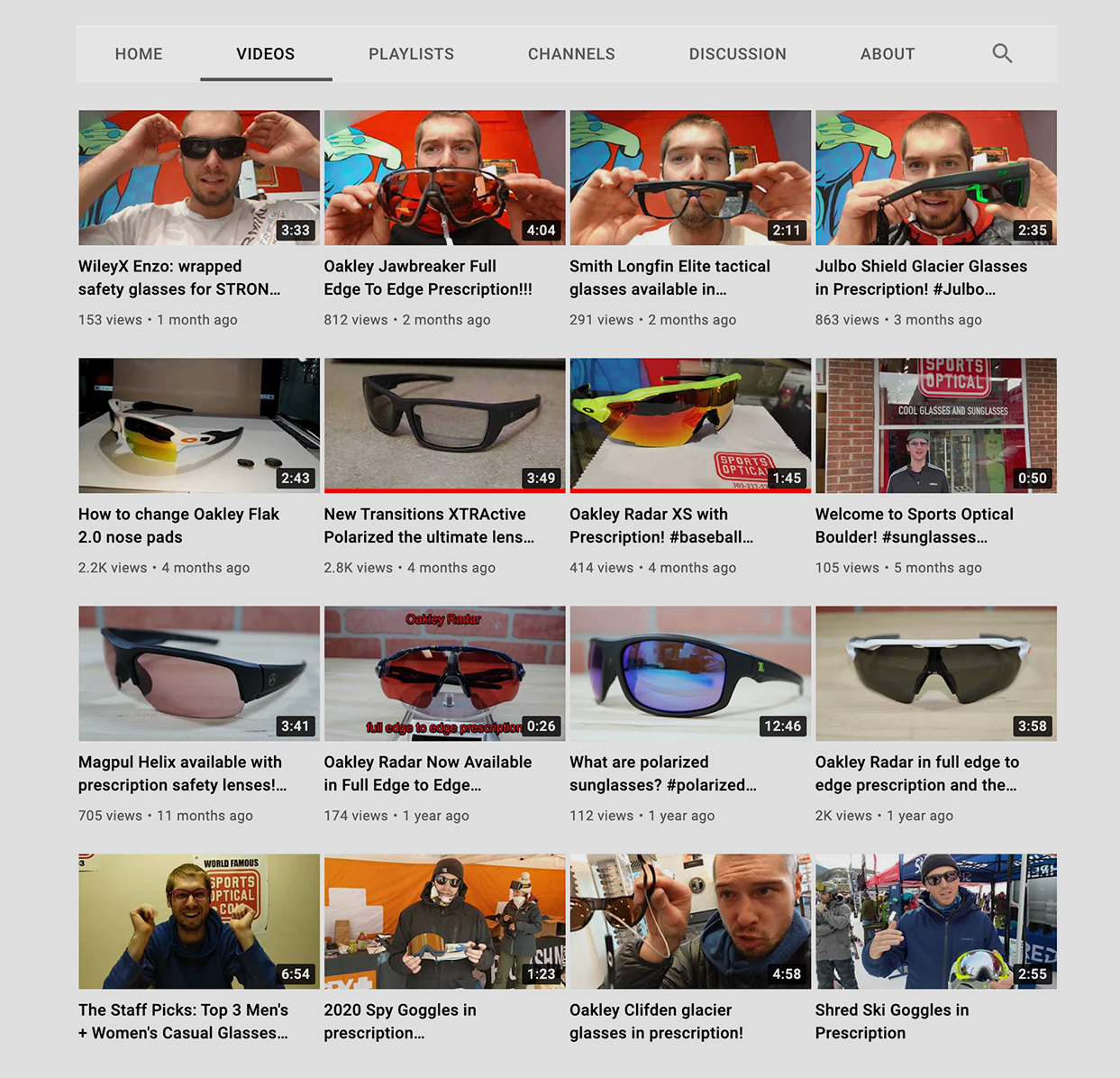 Sports Optical in Denver, CO, routinely posts videos on YouTube announcing frame arrivals or new sports prescription lens offerings.