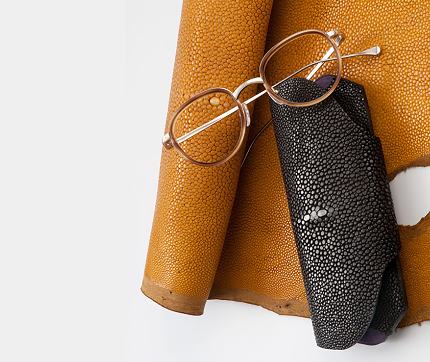 eyeglasses and leather case