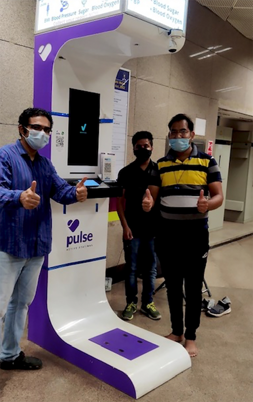Photo of a Pulse Smart Health Kiosk in Delhi. Photo credit:Pulse Active Stations Network