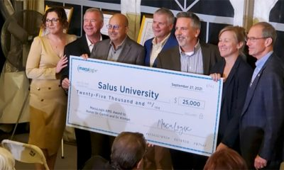 (From left) Victoria Dzurinko, OD, director of professional relations at MacuLogix; Gary Kirman, OD '86 and Glenn Corbin, OD '82, PCO/Salus alumni and clinical advisors at Maculogix; Greg Jackson, PhD, cofounder and chief technology officer at MacuLogix; Dave Miller, SVP of marketing at MacuLogix; Melissa Trego, OD '04, PhD, dean of PCO/Salus; Salus President Michael Mittelman, OD '80, MPH, MBA, FAAO, FACHE.